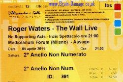 Roger Waters 2011 Milan ticket