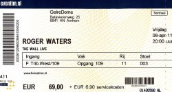 Roger Waters - Arnhem ticket 2011