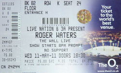 Roger Waters - The Wall Live at London's O2 ticket