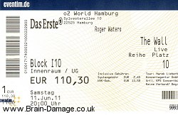 Roger Waters ticket 11th June 2011