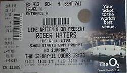 Roger Waters O2 ticket May 2011