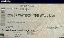 Roger Waters concert ticket 2011 Zagreb