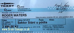 Roger Waters 2011 The Wall Live concert ticket