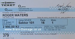 Roger Waters 2011 Wall concert ticket