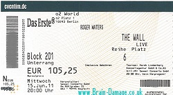 Roger Waters The Wall Live - Berlin 2011 ticket