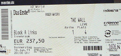 Roger Waters - Berlin 2011 Wall ticket