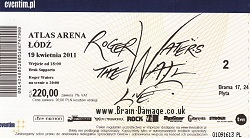 Roger Waters Lodz 19 April 2011 ticket