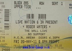 Roger Waters 2011 Manchester concert ticket