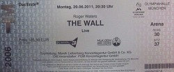 Roger Waters ticket - Germany 2011