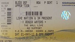 Roger Waters Manchester ticket May 2011