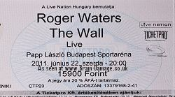 Roger Waters concert ticket 2011 Budapest