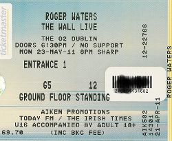 Roger Waters Dublin 2011 ticket