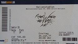 Roger Waters 2011 Zurich ticket