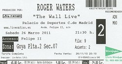 Roger Waters The Wall Live 2011 concert ticket