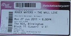Roger Waters -Birmingham 2011 ticket