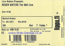 Roger Waters ticket - Hartwall Areena, Helsinki, 28 April 2011