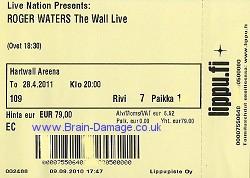 Roger Waters ticket - Hartwall Areena, Helsinki, 28 April 2011