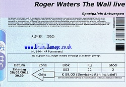 Roger Waters 2011 Antwerp concert ticket
