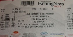Roger Waters Manchester 2011 ticket