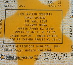 Roger Waters Oslo ticket 2011