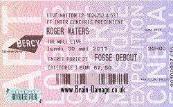 Roger Waters concert ticket 30 May 2011