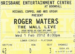Roger Waters Brisbane 2012 Wall concert ticket