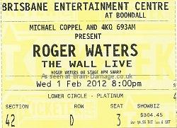 Roger Waters Brisbane 2012 Wall concert ticket