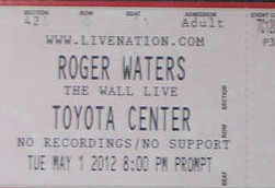 Roger Waters - The Wall Live, Toyota Center 2012 ticket