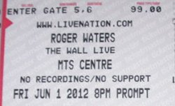 Roger Waters - Winnipeg 2012 ticket