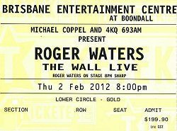 Roger Waters - Brisbane 2012 Wall Live ticket