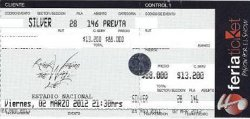 Roger Waters 2012 Chile concert ticket