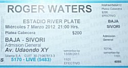 Roger Waters - River Plate, March 7 2012 ticket