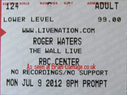 Roger Waters - The Wall 2012 ticket
