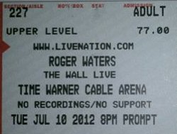 Roger Waters - Charlotte 2012 ticket