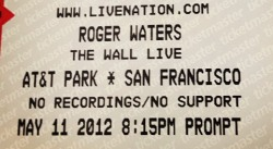 Roger Waters 2012 ticket