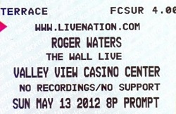 Roger Waters The Wall Live 2012 ticket