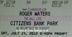 Roger Waters 2012 Wall Tour concert ticket - Philadelphia