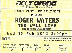 Roger Waters - Sydney ticket 2012