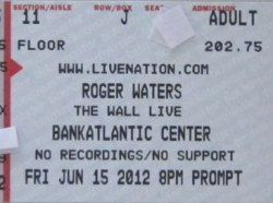 Roger Waters - The Wall ticket, Sunrise, FL