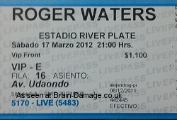 Roger Waters - The Wall Live 2012 ticket`