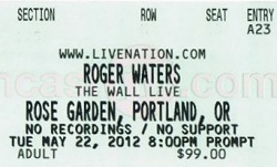 Roger Waters - Rose Garden, Portland 2012 ticket