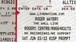 Roger Waters Toronto ticket 2012