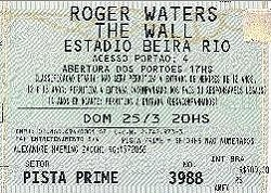 Roger Waters - The Wall ticket, Brazil