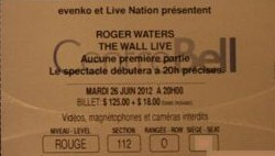 Roger Waters - The Wall ticket, Montreal