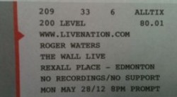 Roger Waters - Rexall Place 2012 ticket