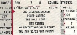 Roger Waters Manitoba 2012 ticket