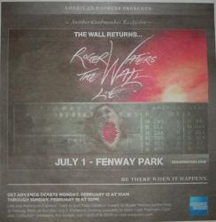 Roger Waters The Wall Live - Boston Fenway concert advert