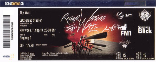 Roger Waters - Zurich 2013 ticket