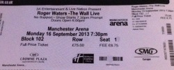 Roger Waters - Manchester Arena, 16th Sept 2013 ticket