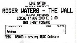 Roger Waters - Gothenburg, 2013 ticket